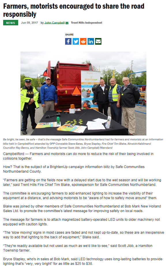 """Image of online article from 2017 """"Farmers, motorists encouraged to share the road responsibly"""""""